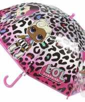 Lol surprise kinderparaplu roze luipaard voor meisjes 71 cm