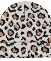 Luxe gebreide kindermuts met luipaard print beige