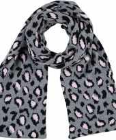 Luxe gebreide kindersjaal met luipaard print grijs