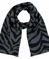 Luxe gebreide kindersjaal met zebra print antraciet