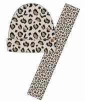 Luxe kinder winterset sjaal muts luipaard print beige