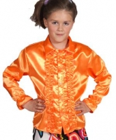 Luxe oranje rouches blouse kinderen