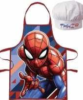 Marvel spiderman schort met koksmuts voor kinderen