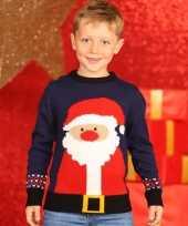 Navy kinder kersttrui met kerstman