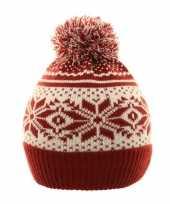 Nordic print winter muts rood wit met pompon voor kinderen