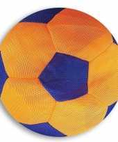 Oranje blauwe zachte mesh speelgoed bal voor kinderen 23 cm