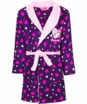 Paarse princess badjas met capuchon voor meisjes