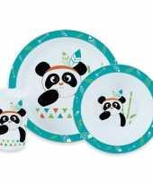 Panda thema plastic kinderservies set 3 delig bord kom beker