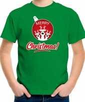 Rendier kerstbal shirt kerst t-shirt merry christmas groen voor kinderen