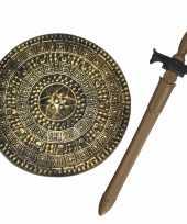 Ridders verkleed wapens set schild met zwaard van 65 cm