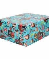 Rollen inpakpapier cadeaupapier blauw met piraten figuren 200 x 70 cm