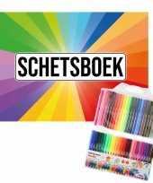Schetsboek kleurenwaaier thema a4 50 paginas met 50 viltstiften