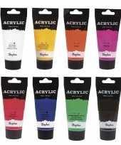Schilders verf set van 8x tubes acrylverf hobbyverf op waterbasis 75 ml