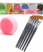 Schmink grimeer palet van 6 glitter kleuren met penselen en kwastjes sponsjes