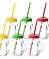 Set van 12x glazen drinkbekers dop rietje 500 ml geel groen rood