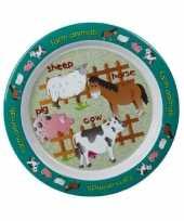 Set van 2x stuks kinder ontbijtbordjes boerderij thema 22 cm