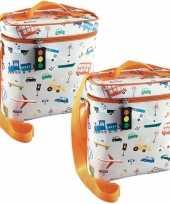 Set van 2x stuks kleine koeltassen voor lunch oranje zilver met vervoersmiddelen 9 x 22 x 22 cm 4 l