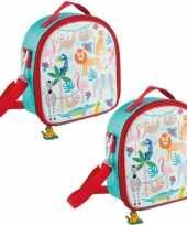 Set van 2x stuks kleine koeltassen voor lunch rood blauw met jungle dieren print 9 x 22 x 22 cm 4 l