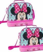 Set van 2x stuks kleine koeltassen voor lunch roze licht blauw mini mouse print 27 x 13 x 24 cm 8 l