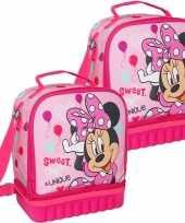 Set van 2x stuks kleine koeltassen voor lunch roze met minnie mouse print 24 x 12 x 20 cm 5 liter