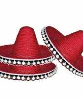 Set van 3x stuks rode sombrero hoed 25 cm voor kinderen