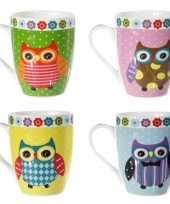Set van 4 koffiemokken gekleurde uilen 10 5 cm