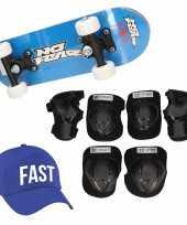 Skateboard set voor kinderen l 9 10 jaar valbescherming fast pet skateboard met print 43 cm blauw