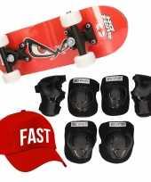 Skateboard set voor kinderen l 9 10 jaar valbescherming fast pet skateboard met print 43 cm rood