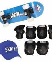Skateboard set voor kinderen l 9 10 jaar valbescherming skater pet skateboard met print 43 cm blauw
