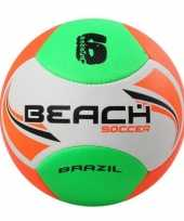 Speelgoed strandvoetbal wit oranje groen 22 cm voor kinderen volwassenen