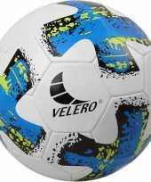 Speelgoed voetbal no 5 blauw wit voor kinderen volwassenen