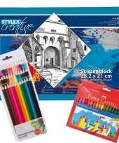 Tekenen voor kinderen set schetsboek met potloden en stiften