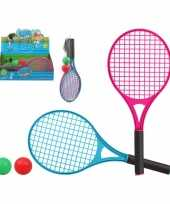 Tennis set beachball set blauw rood met 2 ballen voor kinderen