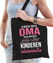 Trotse oma kinderen cadeau tas zwart voor dames