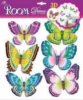 Vlinder stickers set groen paars 3d