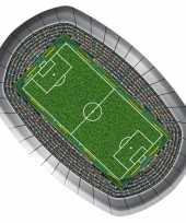 Voetbal thema feest bbq borden rechthoekig 8x stuks